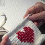 Heart Cross Stitch on Afghan