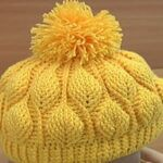 Crochet Beanie Hat 3D Leaves