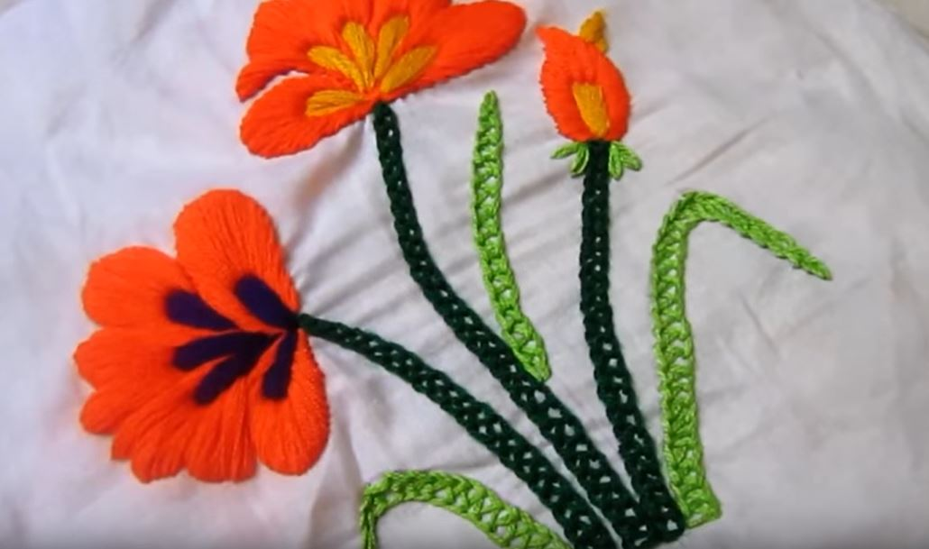 Satin Stitch Flower Hand Embroidery
